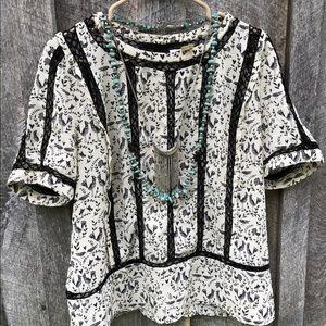 Anthropologie Meadow Rue L Faison blouse bird lace